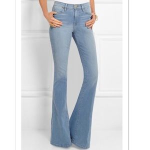 frame / high waisted flare light wash jeans rise